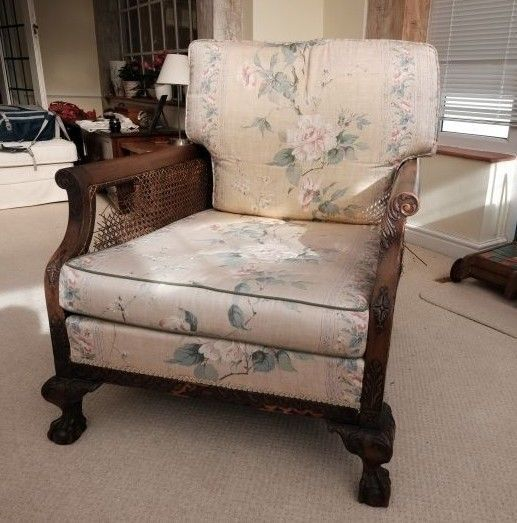 Antique Armchair Caned Bergere Club Chair C1910 Ebay Upholstery