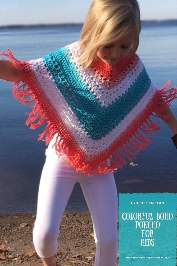 Colorful Boho Poncho for Kids Crochet Pattern- by A Frayed Knot Boutique
