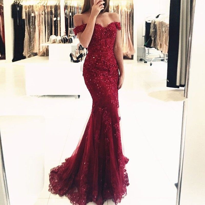 Mermaid Off the Shoulder Burgundy Tulle Prom Dress with Appliques ...