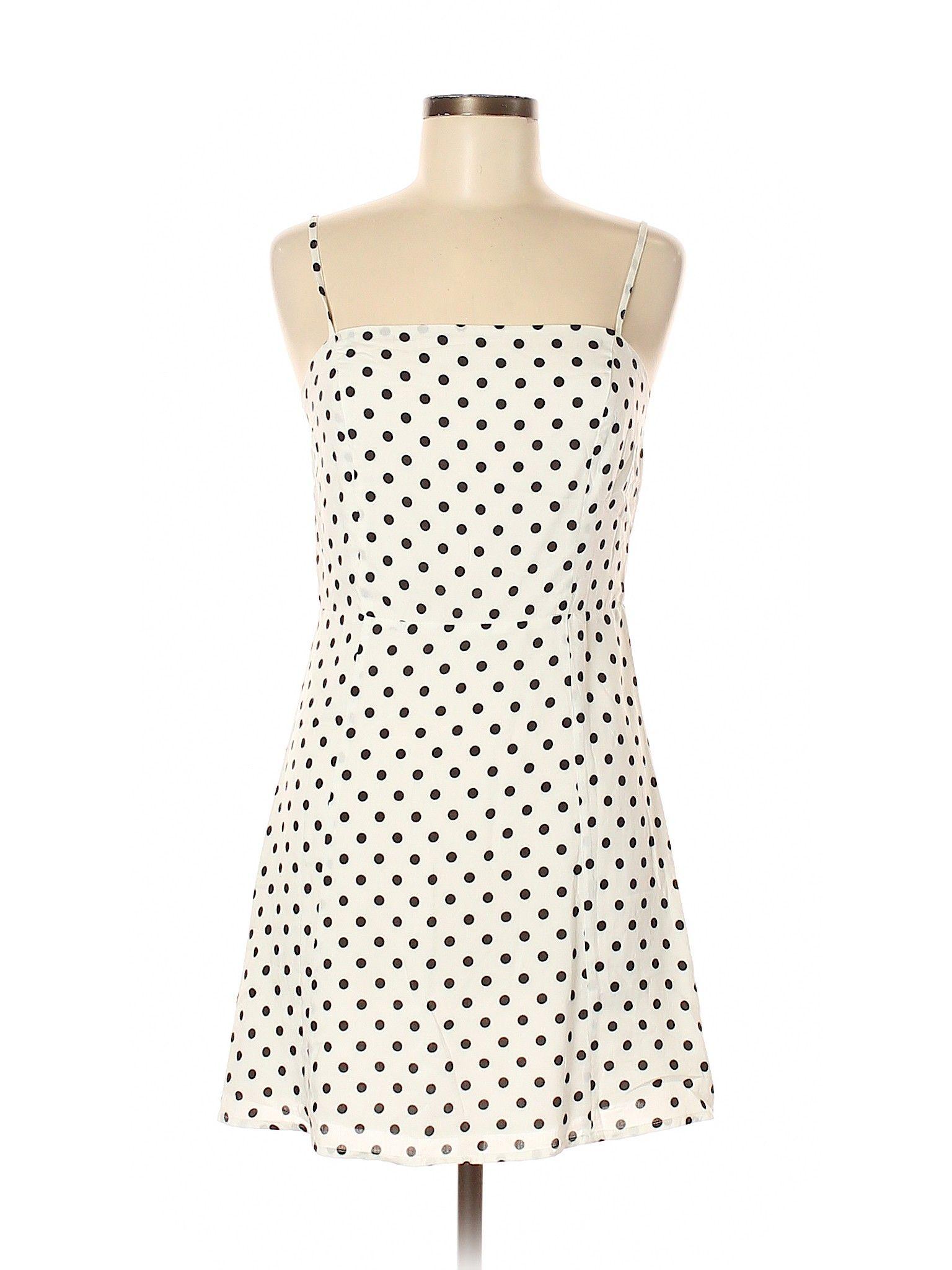 Market Casual Dress Slip Dress Ivory Polka Dots Dresses Used Size Medium Second Hand Clothes Casual Dresses Fashion