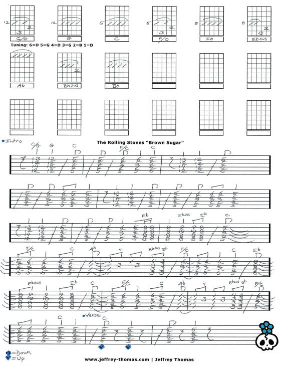 The Rolling Stones Brown Sugar Guitar Tab By Jeffrey Thomas