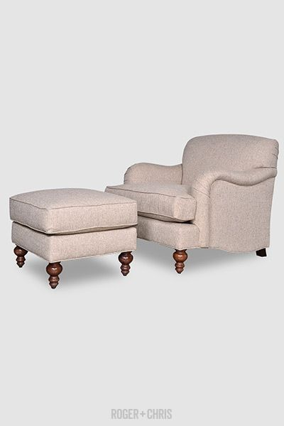 Basel Tight Back English Roll Arm Armchair And Ottoman In Notion Chex Fabric