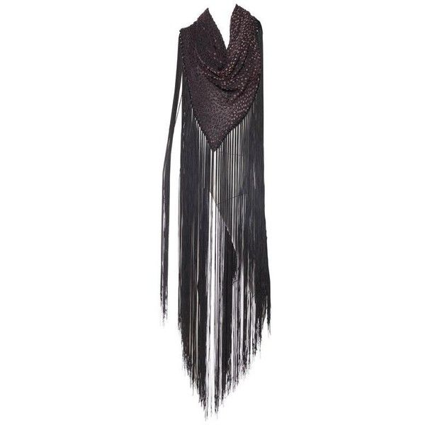 Preowned Silk Velvet Fringed Shawl (£580) ❤ liked on Polyvore featuring accessories, scarves, black, shawls, silk scarves, velvet scarves, velvet shawl, shawl scarves and silk shawl