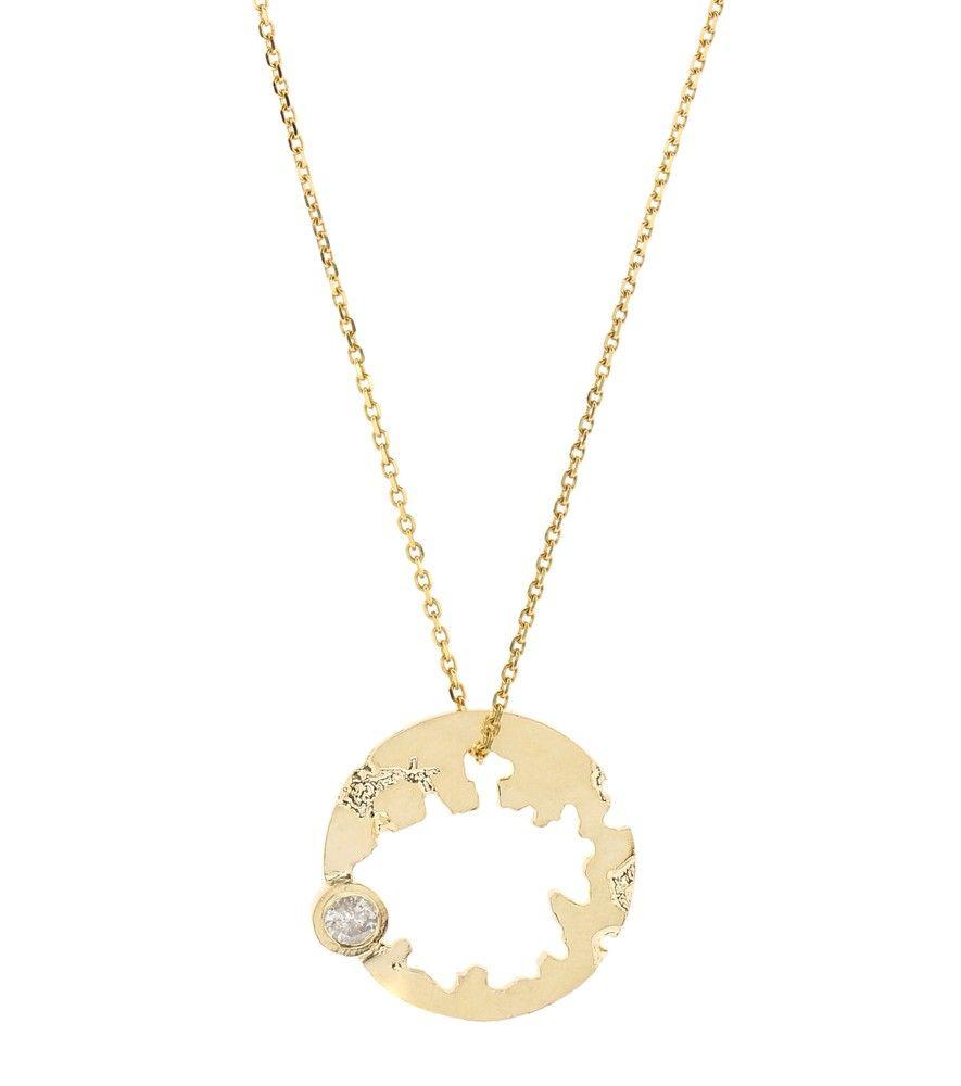 Wasson Round Crater 14kt gold necklace with diamond IiMyAXijn