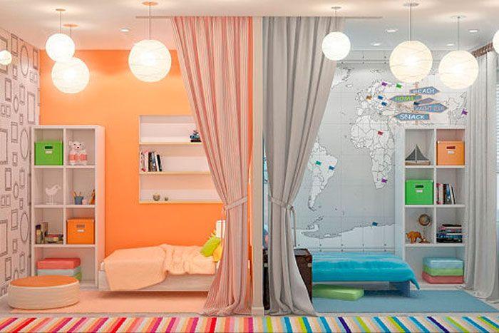15 habitaciones mixtas ni o ni a habitaciones for Cuartos decorados para nino y nina