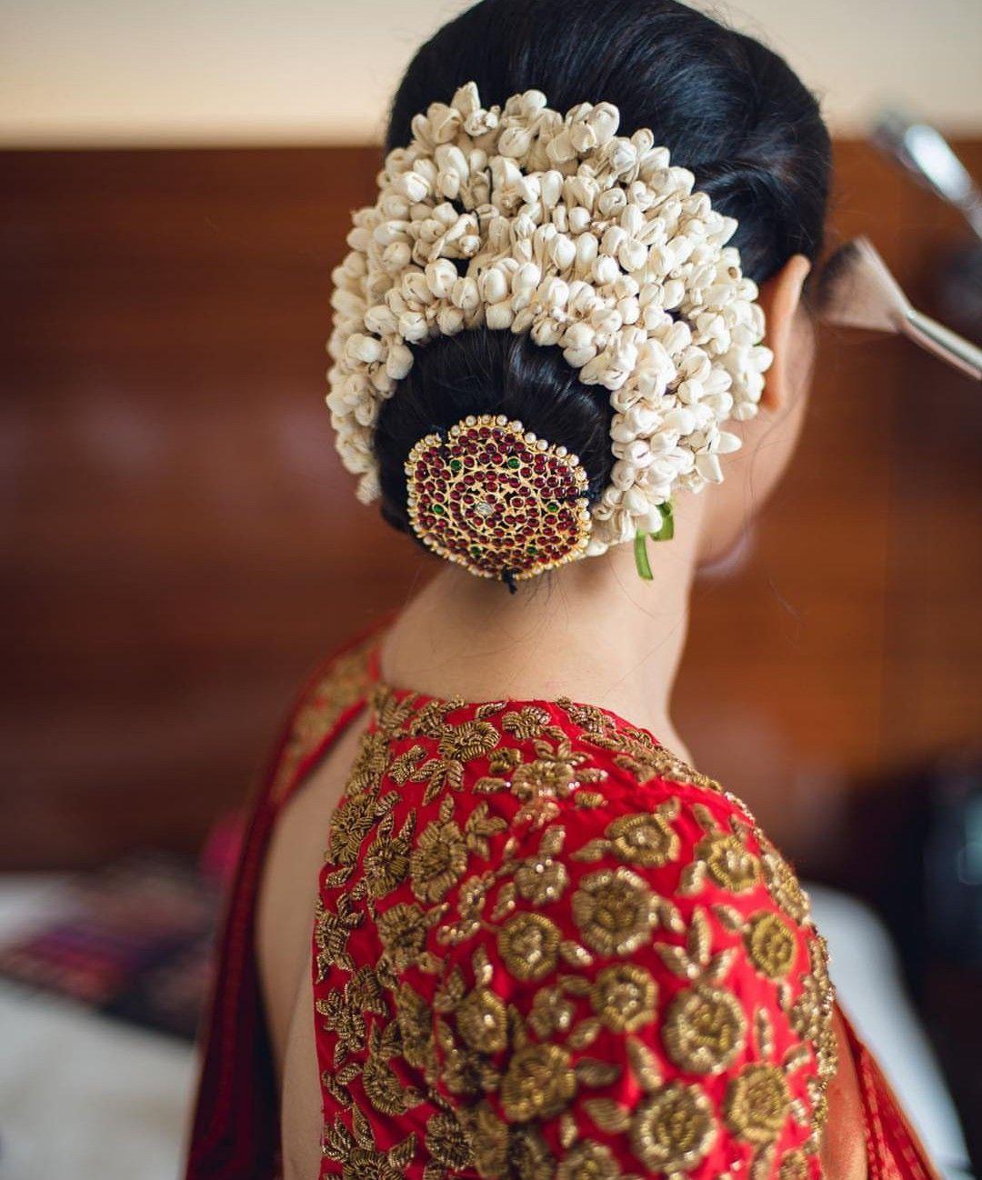 New Wedding Bun Hairstyle Indian 2021 South Indian Wedding Hairstyles Bridal Hair Brooch Wedding Hairstyles For Medium Hair