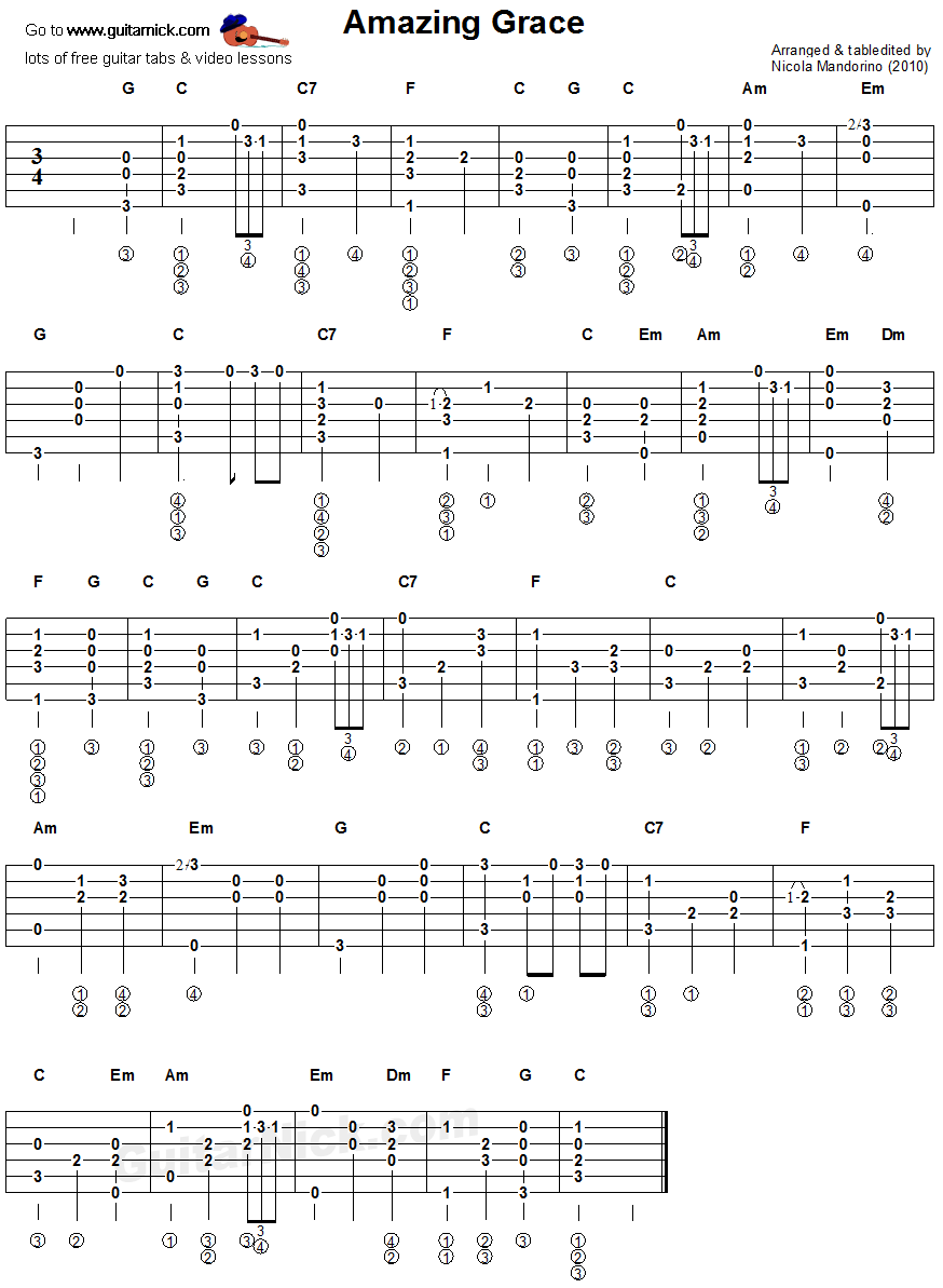 Amazing Grace - fingerstyle guitar tablature : Music sheet : Pinterest : Fingerstyle guitar ...