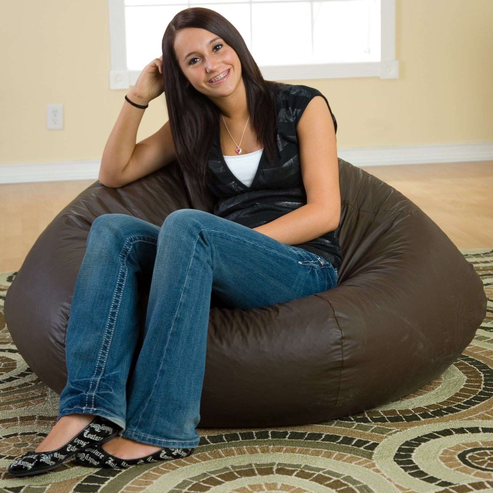 Gold Medal Fashion Large Leather Look Vinyl Bean Bag Chair