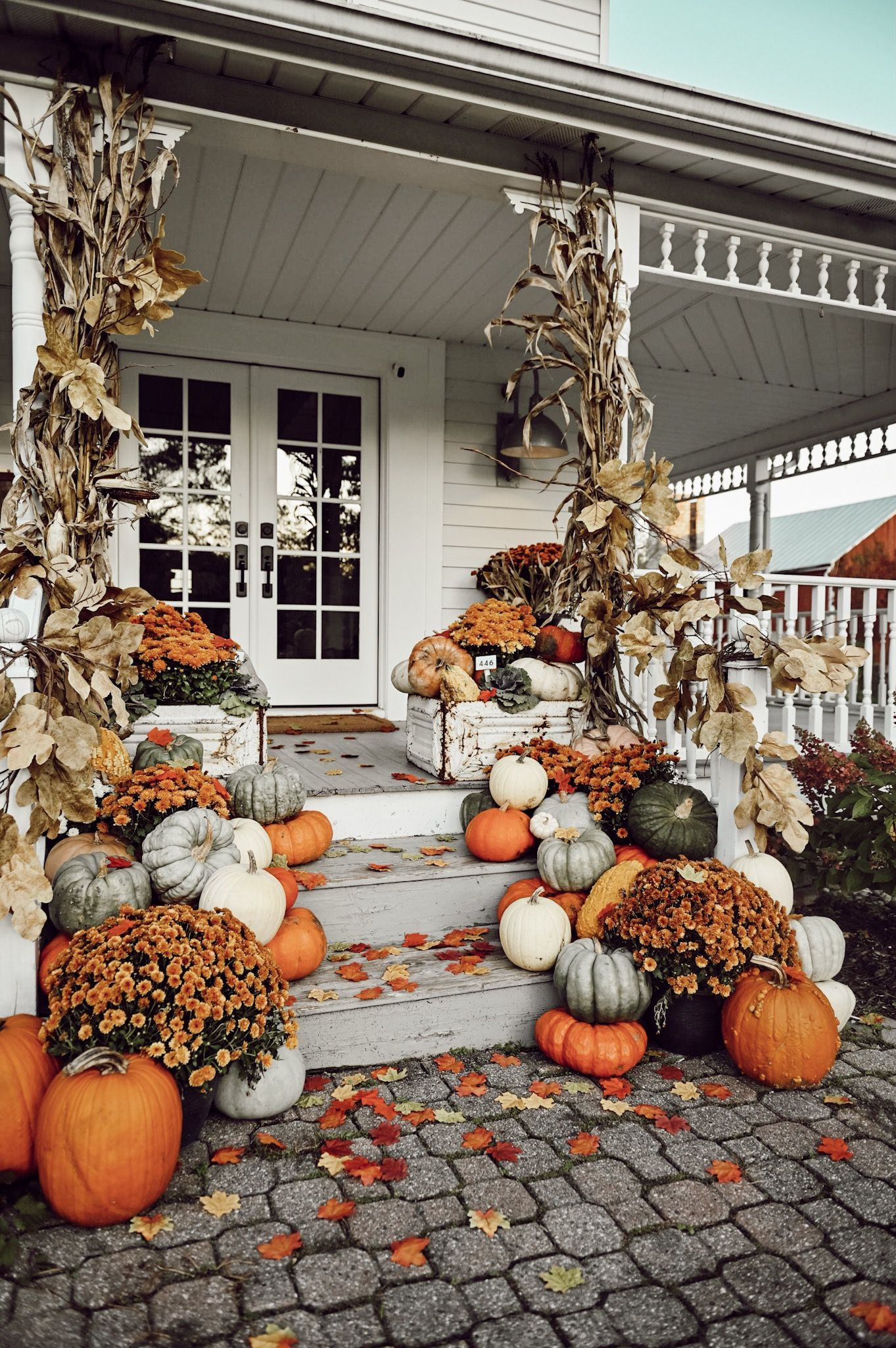 Colorful Farmhouse Fall Porch Steps