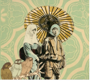 asian print collage style.