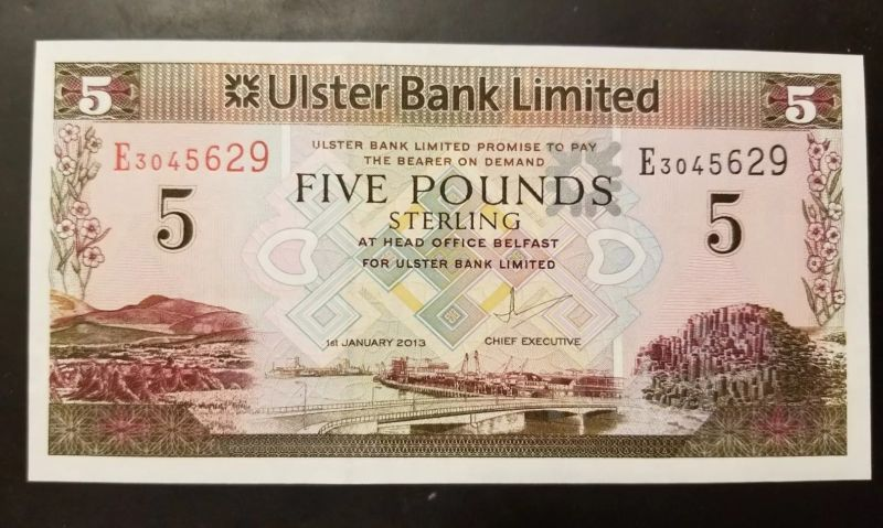 Collecters Item Northern Ireland Ulster Bank 5 Pounds Unc1st