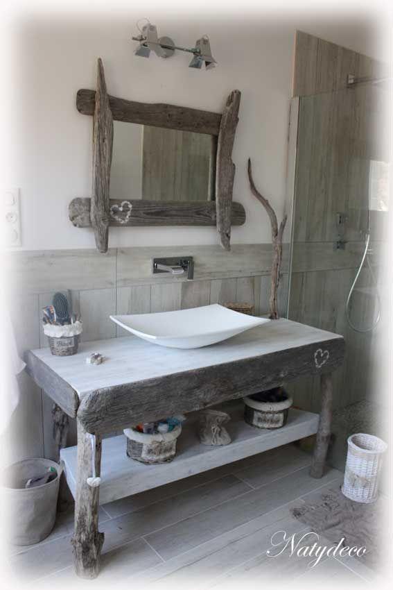 meuble salle de bain bois flotté
