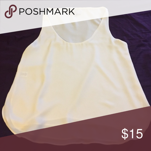 Loft top - small White LOFT flowy tank size small. Bought from a fellow posher, super cute top for work or play. I just have tons of white tops so I need to get rid of a few LOFT Tops Blouses