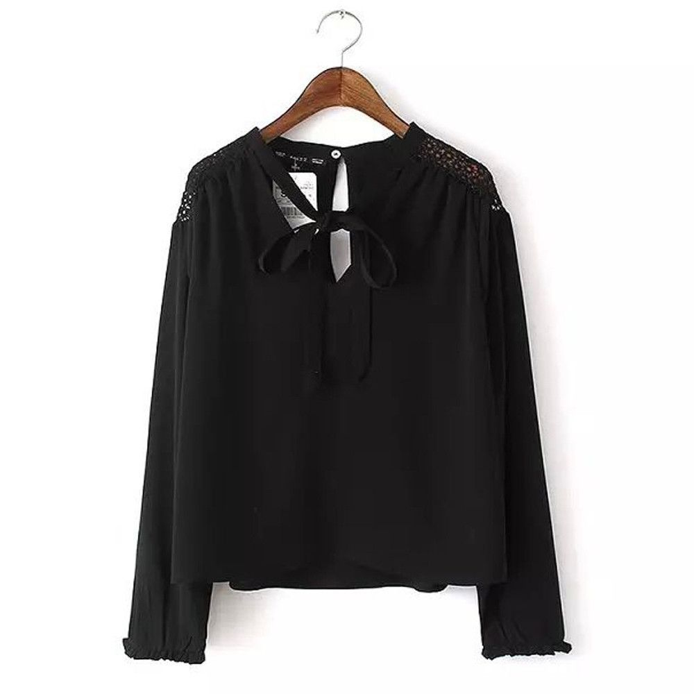Women sexy hollow out patchwork blouses vneck bow tie office shirts