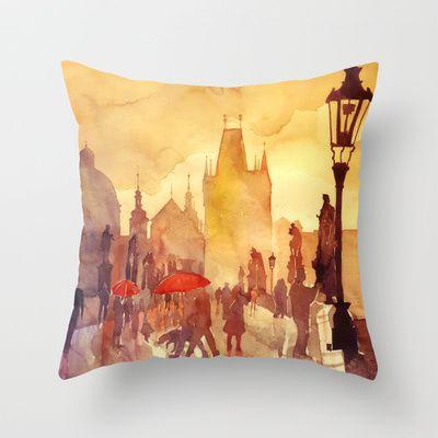 Charles Bridge Throw Pillow by Takmaj - $20.00