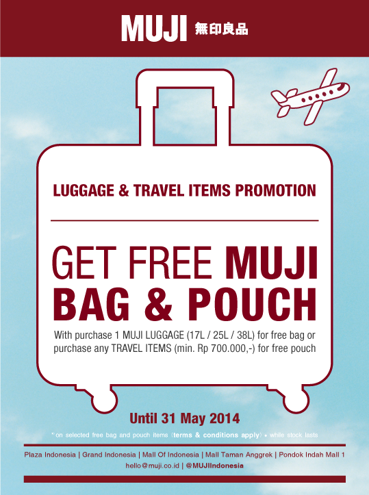 Get Free Bag Or Pouch With Purchase Muji Luggage Or Travel Items T C Apply Until 31 May 2014 Don T Miss It