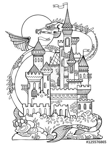 Castle And Dragon Coloring Book Page By Alexander Pokusay On Fotolia Castle Coloring Page Coloring Books Coloring Pages