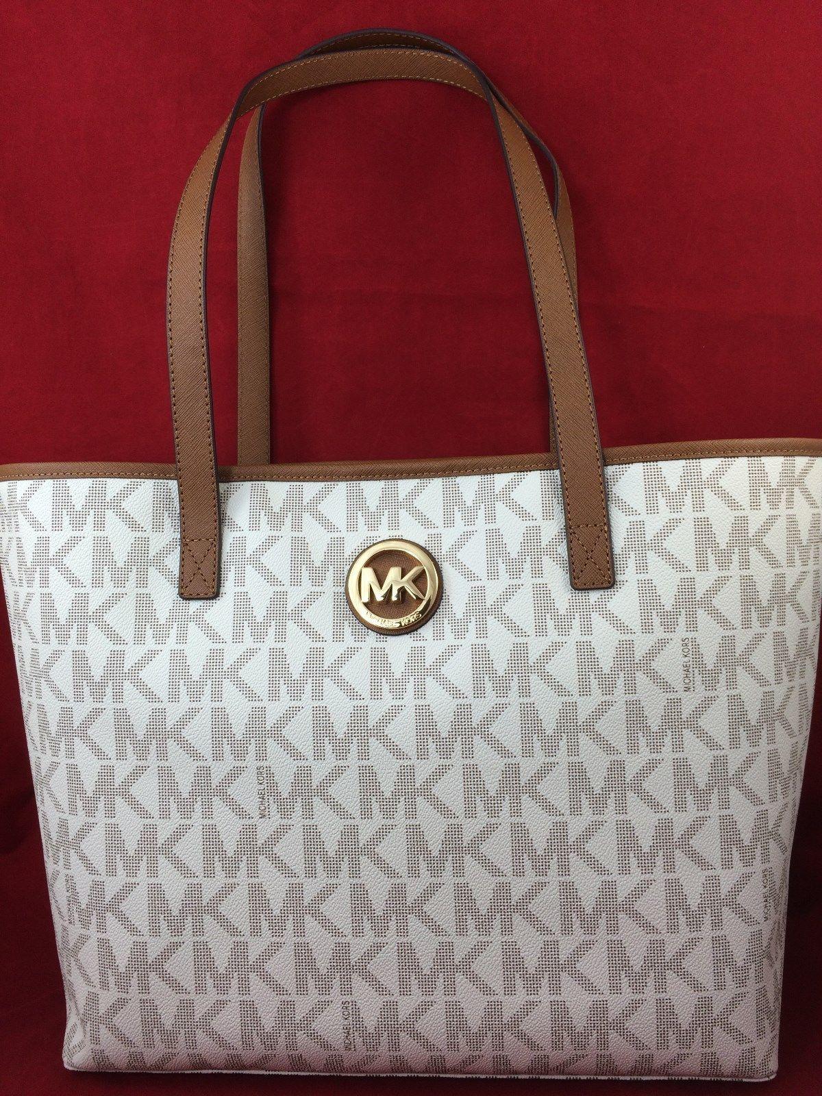 01dc6f3abf61f New Michael Kors MK Jet Set Travel Tote Bag Handbag Purse MD PVC Vanilla