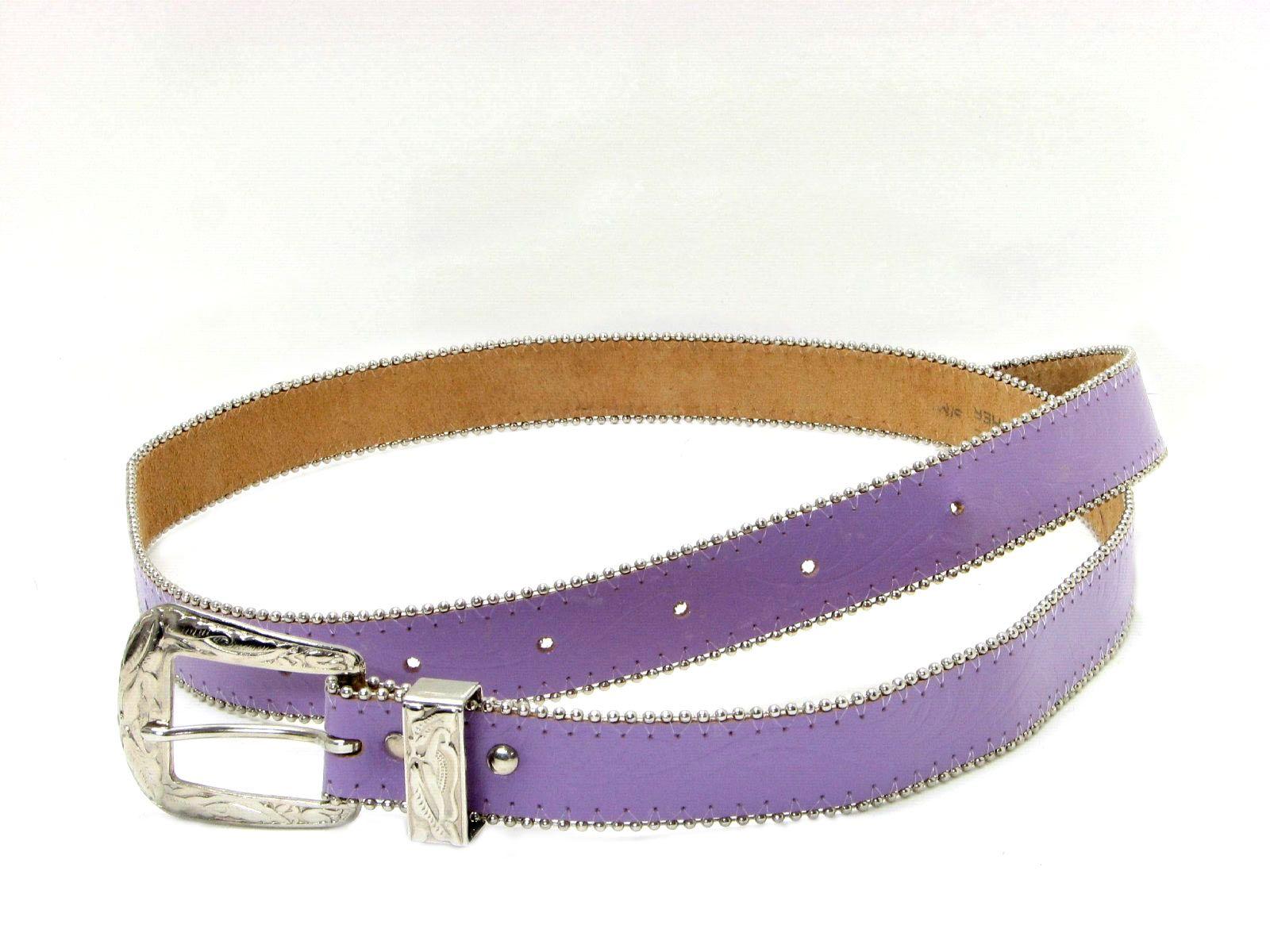 Vintage Genuine Leather 80's Belt: 80s -Genuine Leather- Womens lavender genuine leather Western belt with silvertone metal leaf-embossed buckle, bead chain edging, slight embossing on leaves on belt