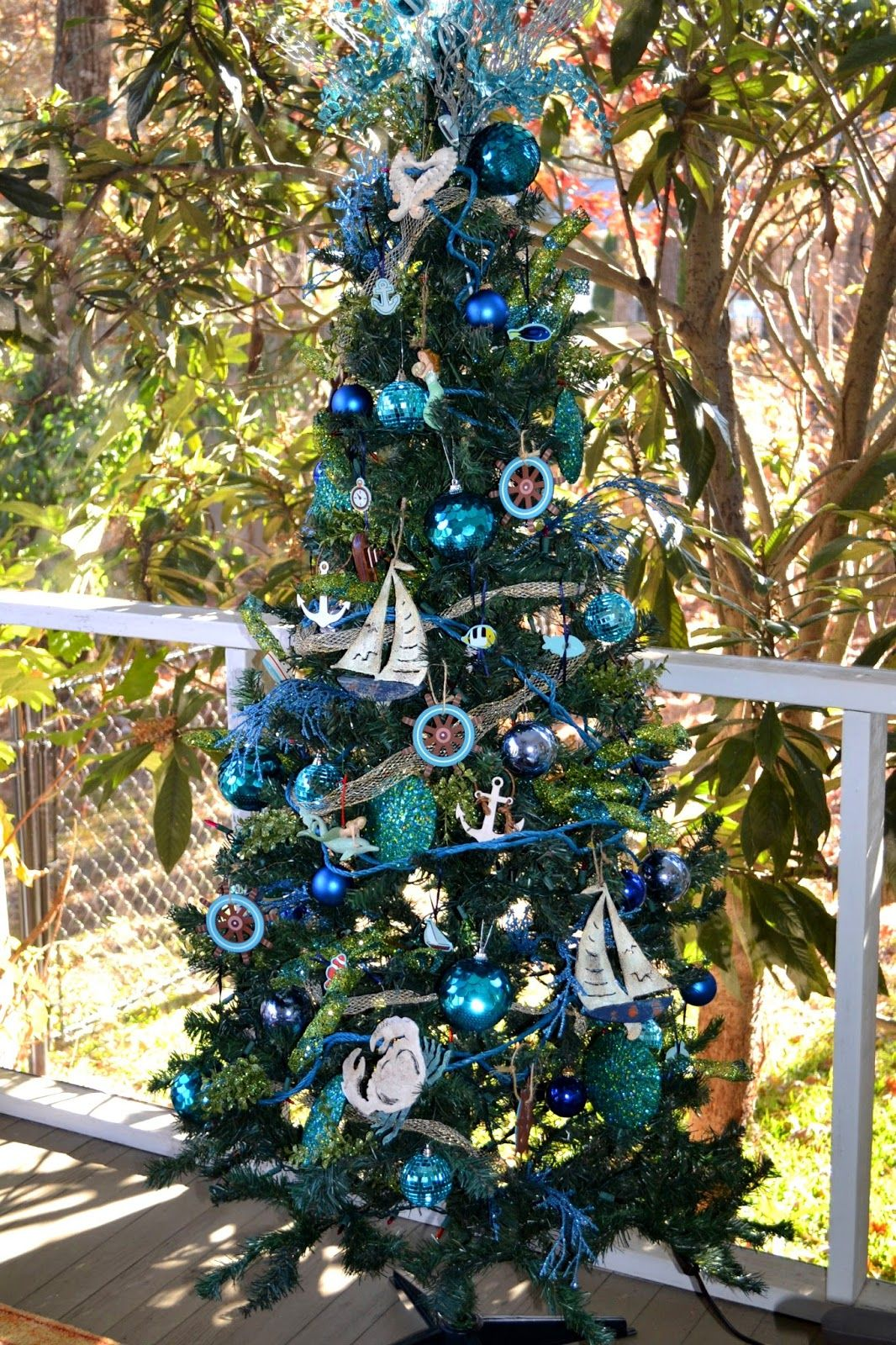 The Decorative Dreamer Nautical Christmas Tree Coastal Christmas Decor Nautical Christmas Outdoor Christmas