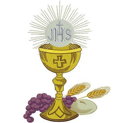 Calice Jhs Completo 20 Cm Eucaristia Artesania Biblica Bordado