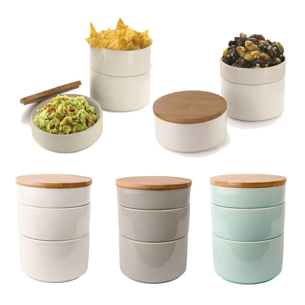 Details zu 3 teilige Aufbewahrungsdose Keramik mit Bambus Deckel ...
