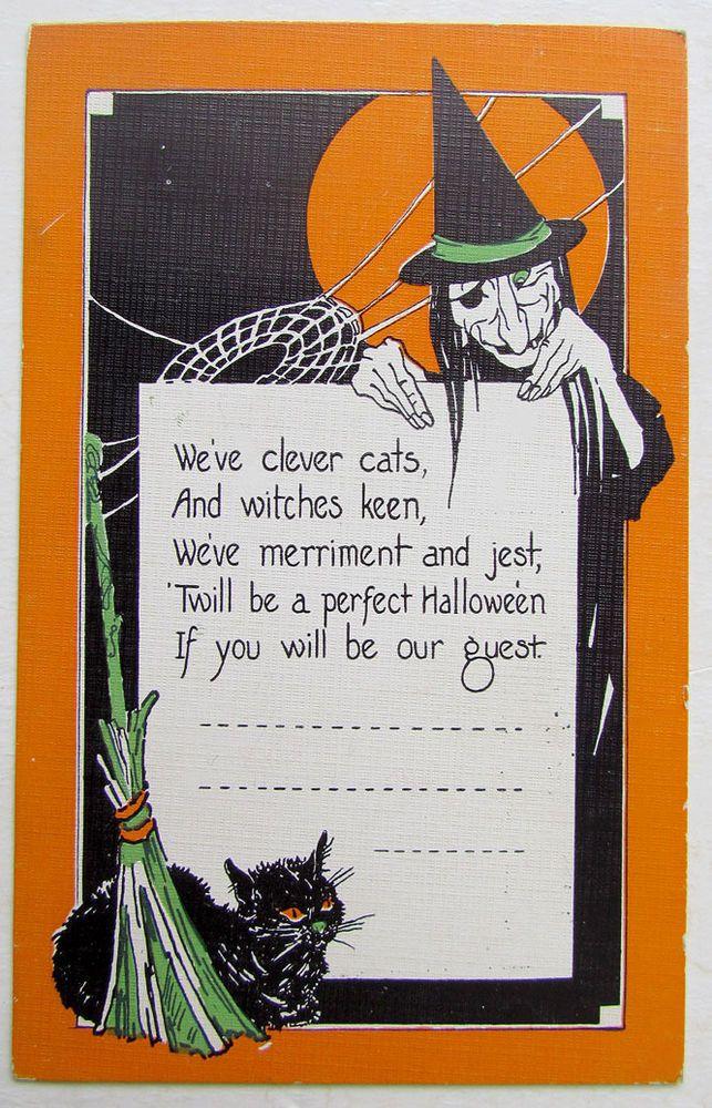VINTAGE POSTCARD HALLOWEEN w/ BLACK CAT & WITCH | CARDS - Halloween ...