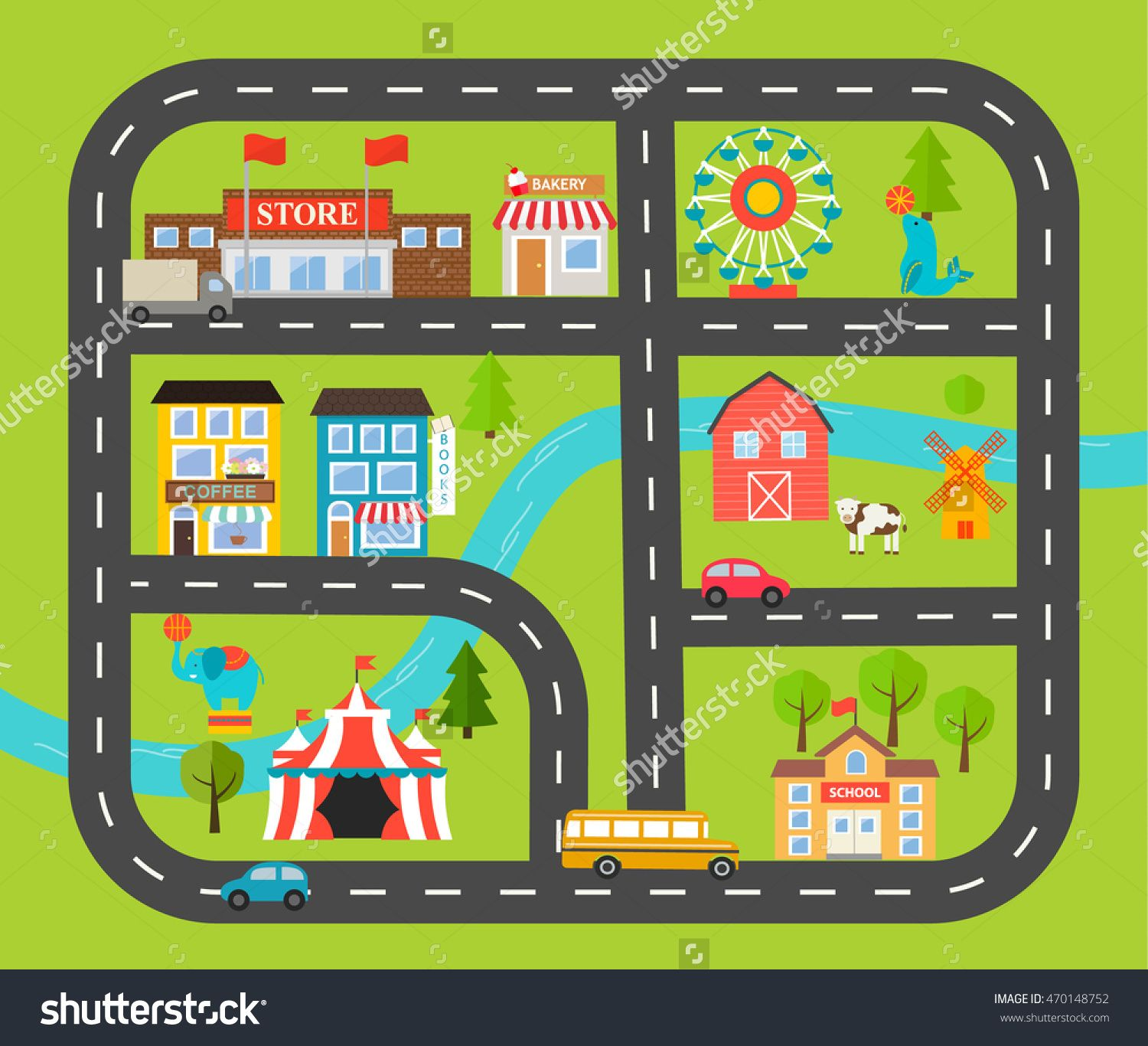 Children Activity And Entertainment Play Mat With City