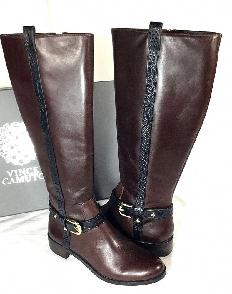 781ce6a966ebb Vince Camuto Boots Vincina2 Brown Womens Shoes Size 7.5 M Black Riding  w box  VinceCamuto  RidingBoots  CasualDressPartyWork  womensshoes
