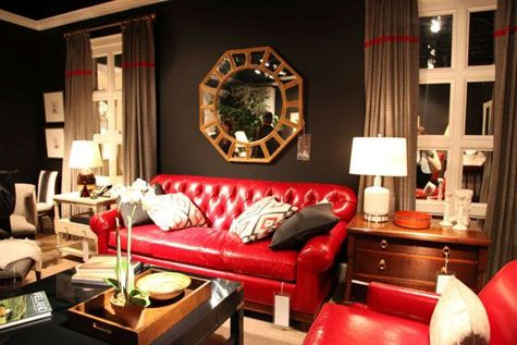 A Red Room Decorating With The Color Red Leather Couches Living