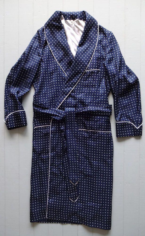 Vintage 1990\'s gentlemans turnbull and asser silk polka dot dressing ...
