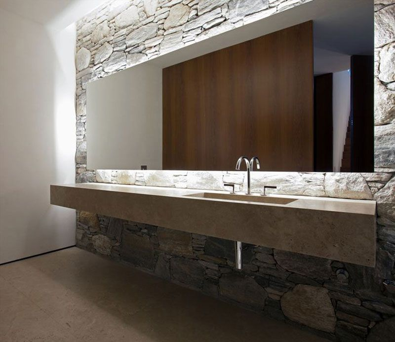 Bathroom, Stone Wall, Large Mirror, Marble-Sink, Concrete House in ...