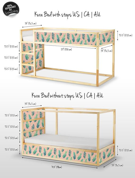 charming Kura Dimensions Part - 3: 100% REMOVABLE SELF-ADHESIVE DECALS FOR IKEA KURA BED My decals are printed  on an innovative, self-adhesive material, which allows them to be applied  and ...