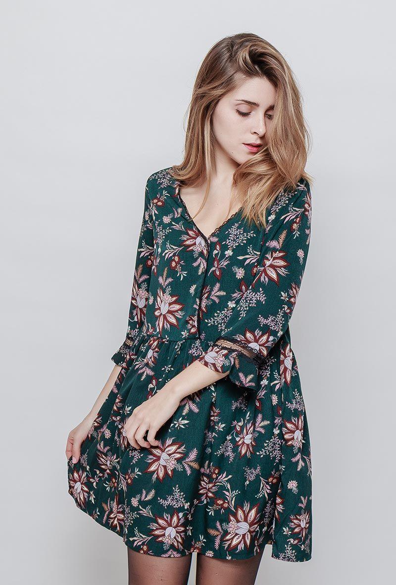 Bien connu Robe PANON verte à fleurs | Collants noirs, Jolie robe et Robe courte BZ94