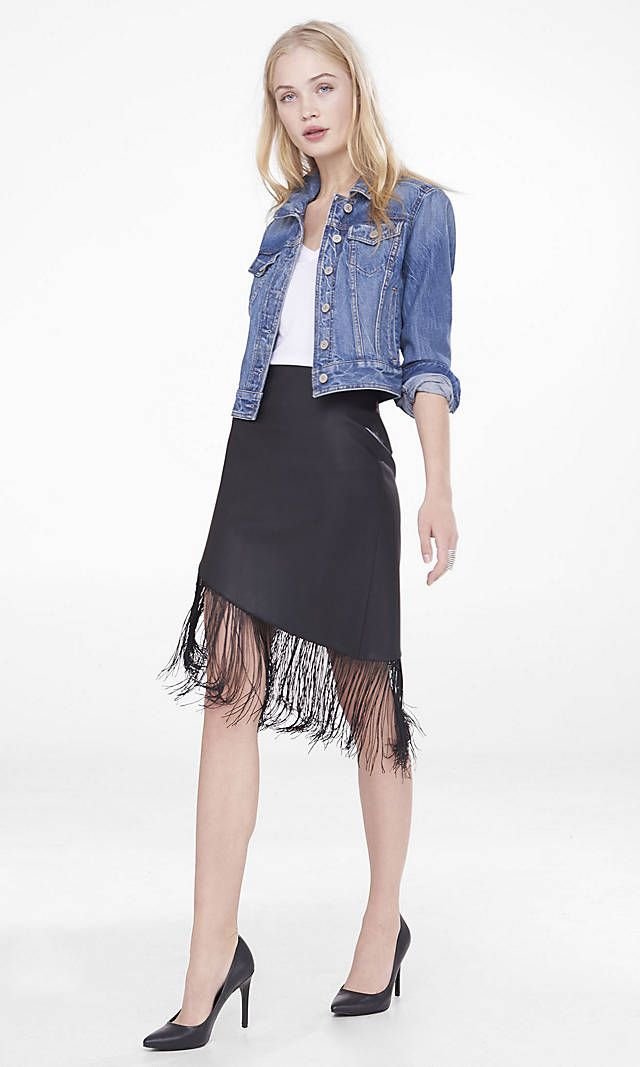 Asymmetrical (minus The) Leather Fringe Skirt | Express