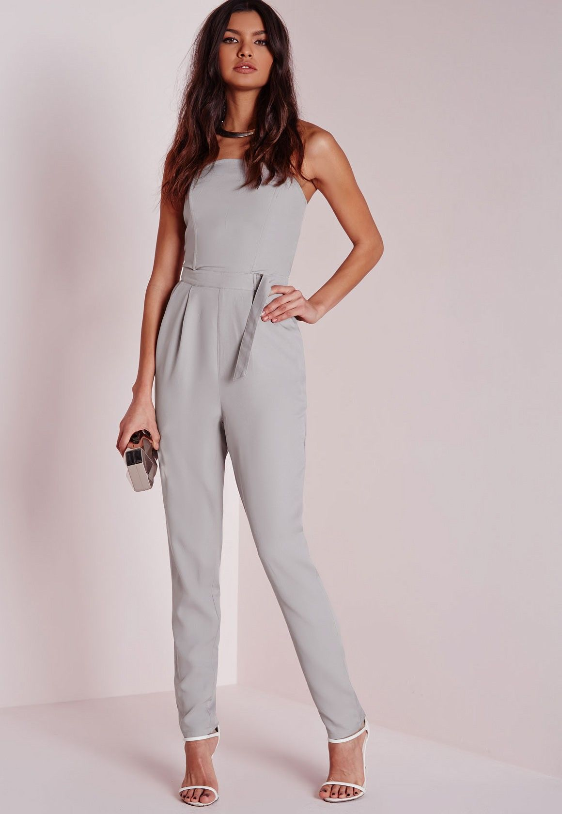 9fc47f421f41 Missguided - D Ring Bandeau Jumpsuit Grey
