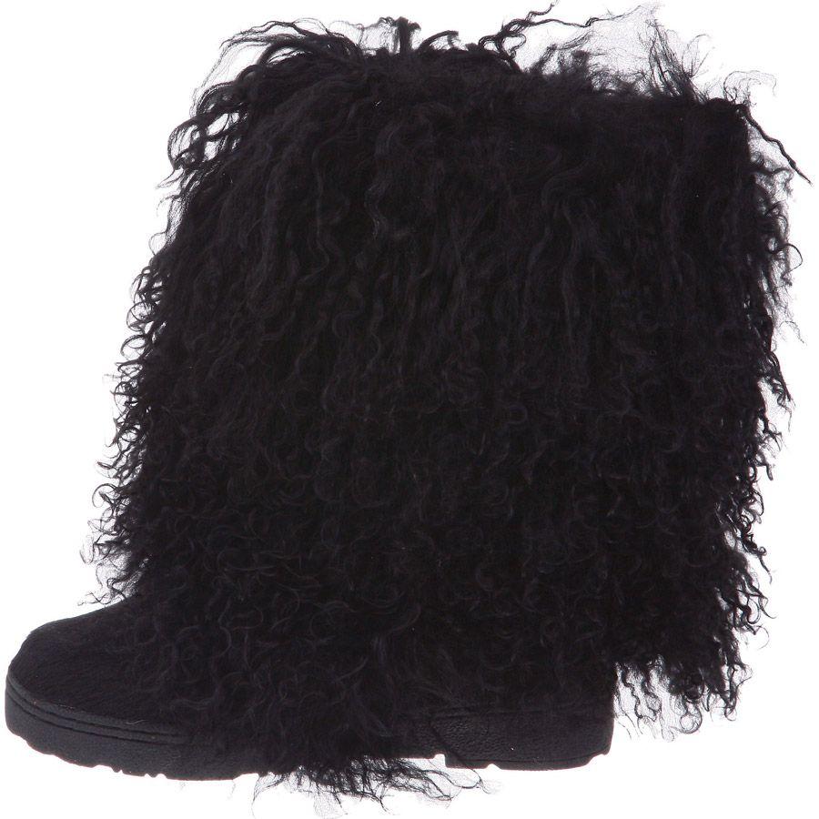 96bb7e49962 Boetis-Black Genuine Bear Paw Lamb Fur Boots | Shoes | Fur boots ...