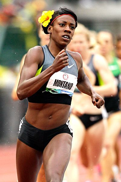 Look for American Alysia Montano's trademark flower as she attempts to win the USA's first medal in 800m track & field since 1988.