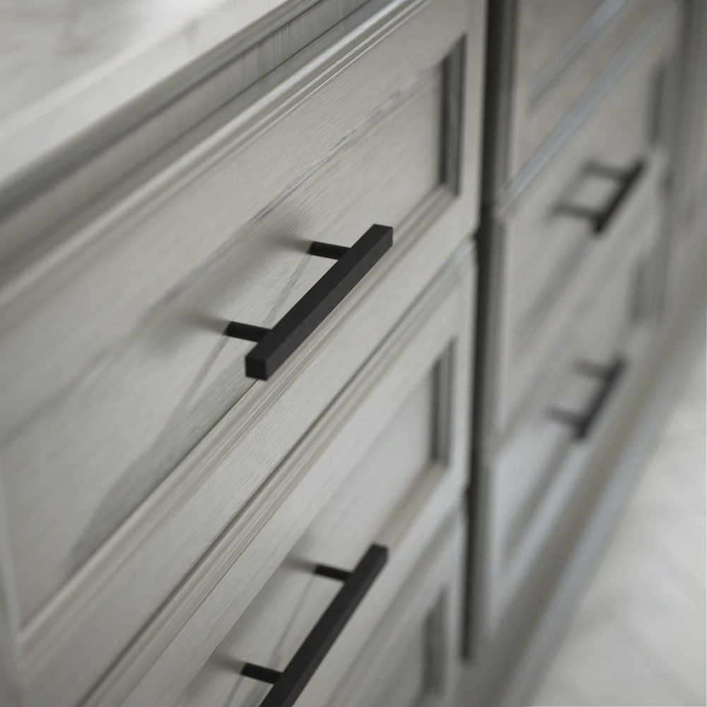 Flat Black Square Drawer Pulls Are Perfect For Both The Modern Farmhouse You Ve Been Dreaming Black Cabinet Hardware Matte Black Kitchen Black Kitchen Cabinets