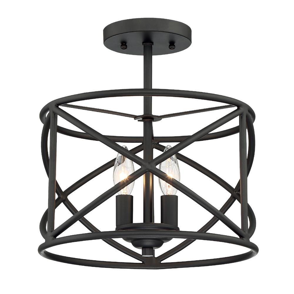Cordelia Lighting 2Light Satin Bronze Ceiling Semi Flush
