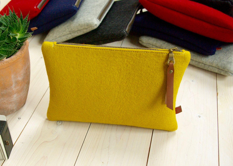 FELT POUCH / Large Pencil Case / Makeup bag / Clutch in
