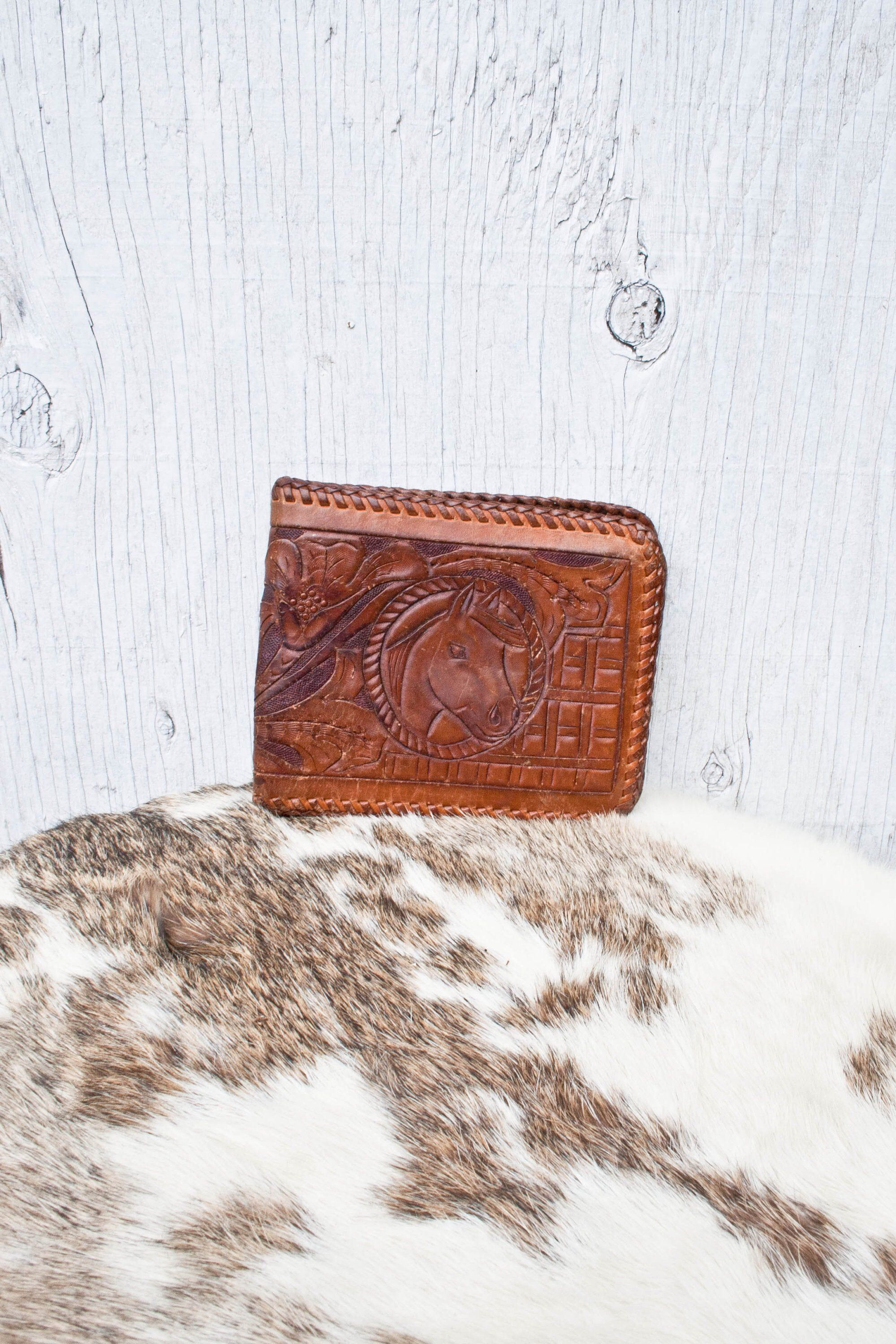 Tooled Leather Wallet - Mexico Hand Tooled Floral and Horse Wallet - 70s - Flower and Horse Pattern Softened Leather