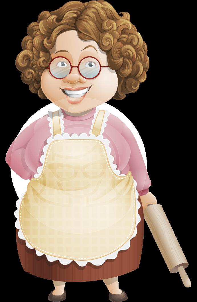 Grandma Vector Cartoon Character 112 Illustrations Set Graphicmama Cartoon Chef Five Course Meal Cooking Logo