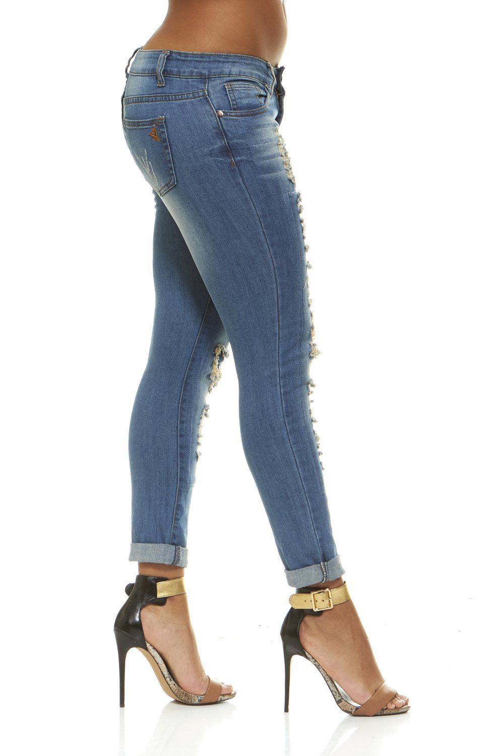fea237a89231b V.I.P.JEANS Plus Size Jeans For Women Distressed Skinny Ripped Jeans Slim  Fit Stretchy Medium Blue Wash Plus Size 14 * Check out this great product.
