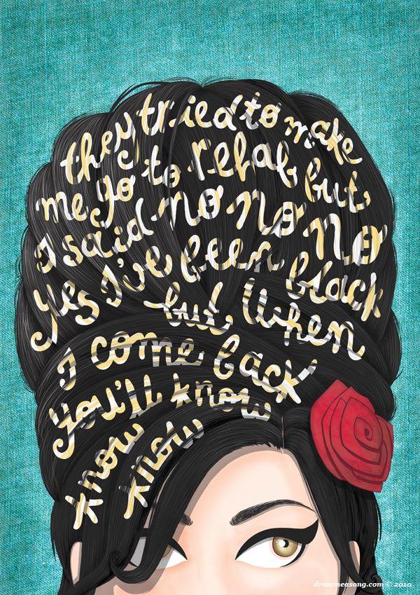 Rehab Amy Winehouse Music Poster Typography Lyrics Home Decor