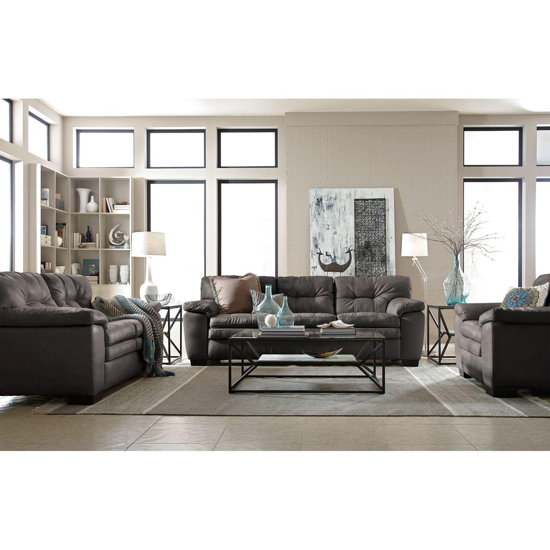 Surprising Legend Gray 3 Pc Living Room Value City Furniture Home Spiritservingveterans Wood Chair Design Ideas Spiritservingveteransorg