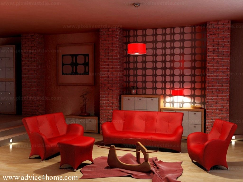 Captivating Fire Red Living Room With Red Sofa Set Design