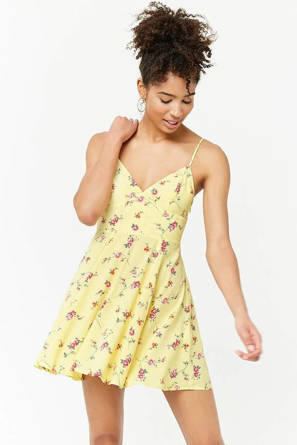 2488290259f Forever 21 Floral Cami Mini Dress