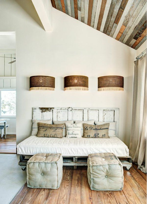 wandlampen Betten aus Holzpaletten dachgeschoss loft wohnung - modernes einrichten dachgeschoss