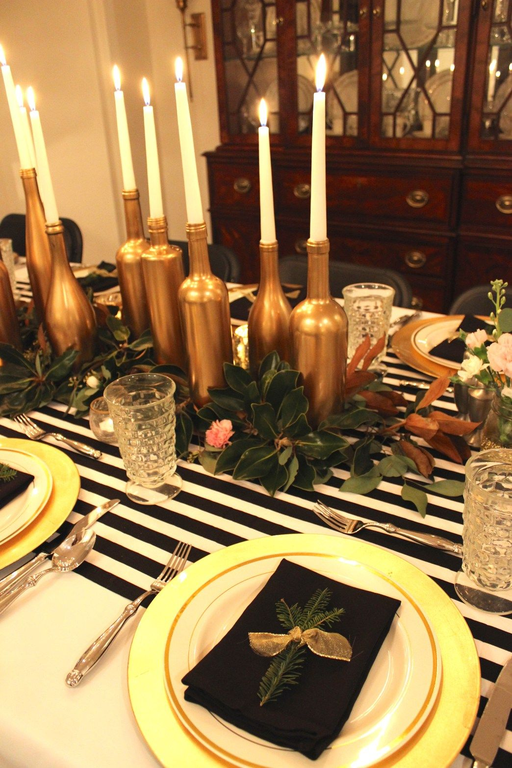 Gold Black And White My 30th Birthday Dinner Party Gold Table